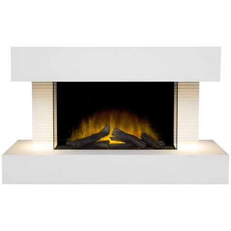 Adam Altair Wall Mounted Electric Fire Suite with Downlights & Remote Control in Pure White