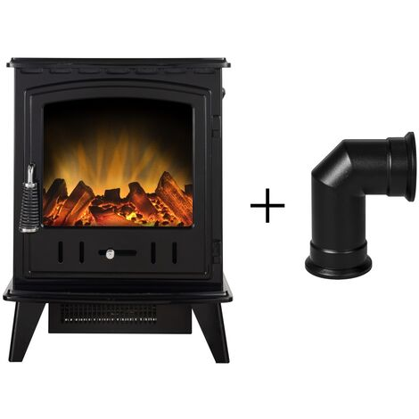 Adam Aviemore Electric Stove in Black Enamel with Angled Stove Pipe