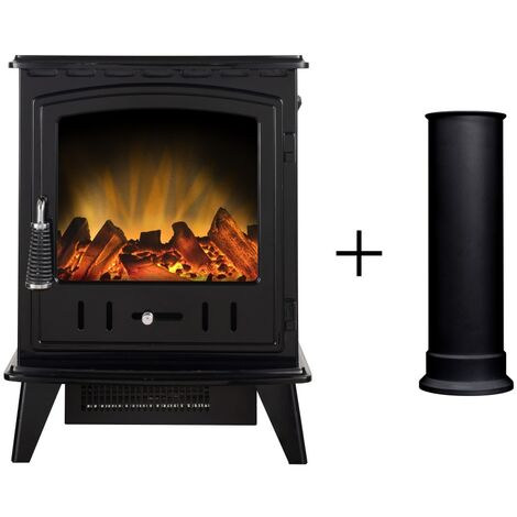 Adam Aviemore Electric Stove in Black Enamel with Straight Stove Pipe
