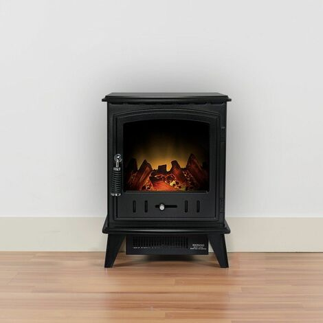 Adam Aviemore Freestanding Stove Fire Heater Heating Real Log Effect Black