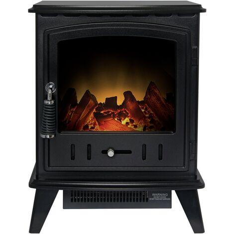 Adam Aviemore Freestanding Stove Fire Heater Heating Real Log Effect Black