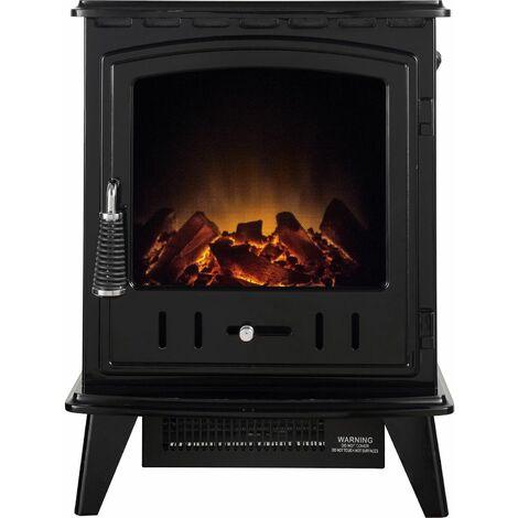 Adam Aviemore Freestanding Stove Fire Heater Heating Real Log Effect Flat Black
