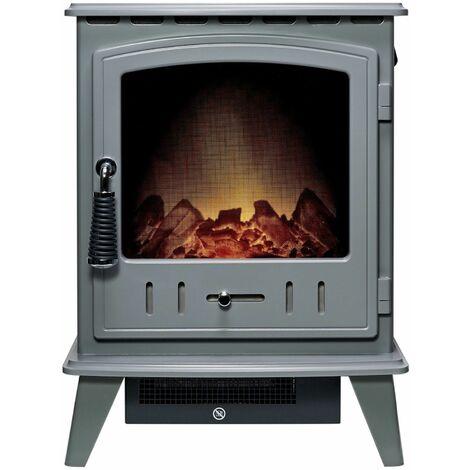 Adam Aviemore Freestanding Stove Fire Heater Heating Real Log Effect Grey