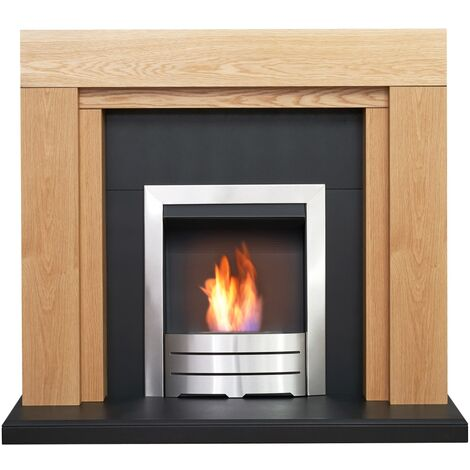Adam Beaumont Oak & Black Fireplace with Downlights & Colorado Bio Ethanol Fire in Brushed Steel, 48 Inch