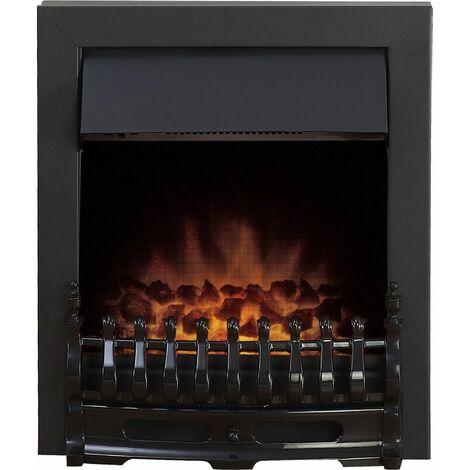 Adam Blenheim Black Inset Electric Fire Coal Heater Heating Real Flame Effect