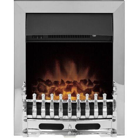 Adam Blenheim Chrome Inset Electric Fire Coal Heater Heating Real Flame Effect