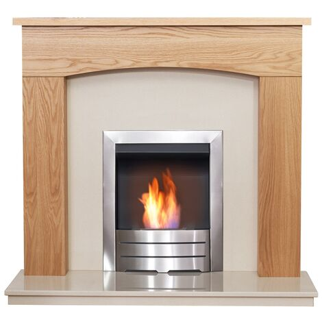 Adam Bretton in Oak & Beige Marble with Colorado Bio Ethanol Fire in Brushed Steel, 48 Inch