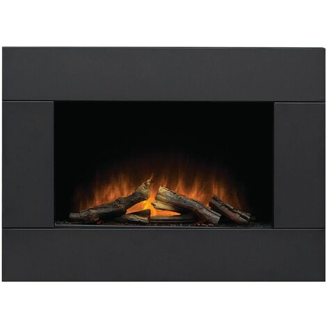 Adam Carina Black Wall Mounted Electric Fire Suite Stove Fire Heater Remote