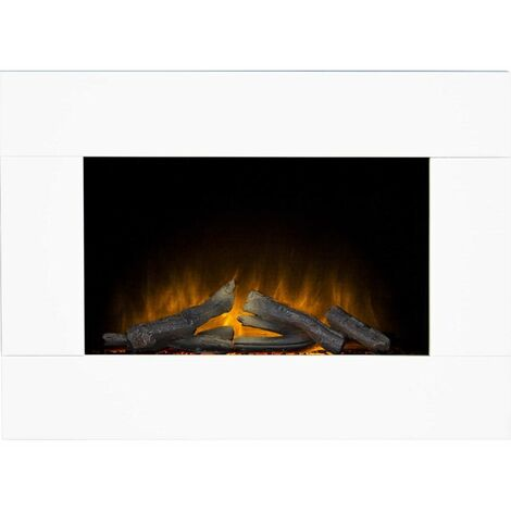 Adam Carina Electric Wall Mounted Fire in Pure White, 32 Inch