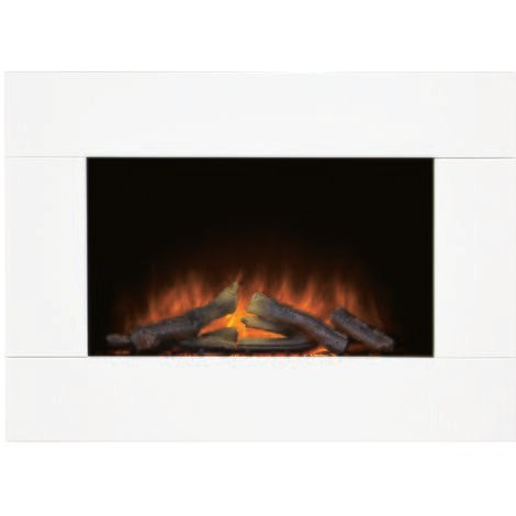 Adam Carina Electric Wall Mounted Fire with Logs & Remote Control in Pure White, 32 Inch