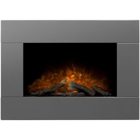 Adam Carina Electric Wall Mounted Fire with Logs & Remote Control in Satin Grey, 32 Inch