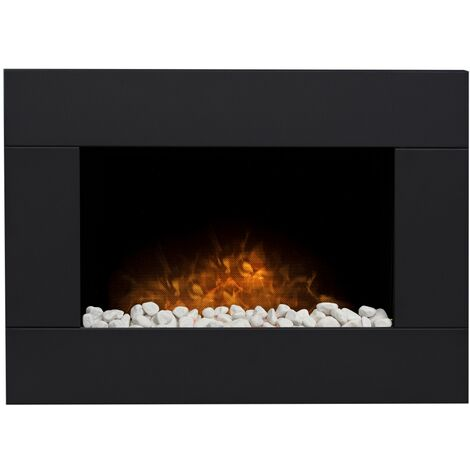 Adam Carina Electric Wall Mounted Fire with Pebbles & Remote Control in Black, 32 Inch