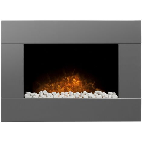 Adam Carina Electric Wall Mounted Fire with Pebbles & Remote Control in Satin Grey, 32 Inch