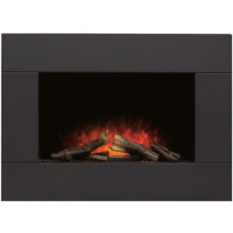 Adam Carina Electric Wall Mounted Fire with Remote Control in Black, 32 Inch