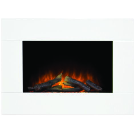 Adam Carina Electric Wall Mounted Fire with Remote Control in Pure White, 32 Inch