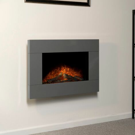 Adam Carina Grey Wall Mounted Electric Fire Log Heater Heating Flame Effect