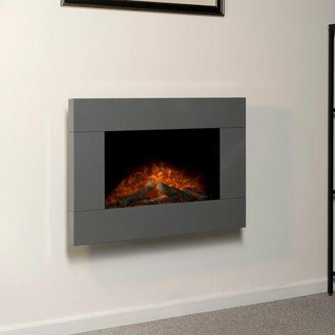 Adam Carina Grey Wall Mounted Electric Fire Log Heater Heating Flame Effect
