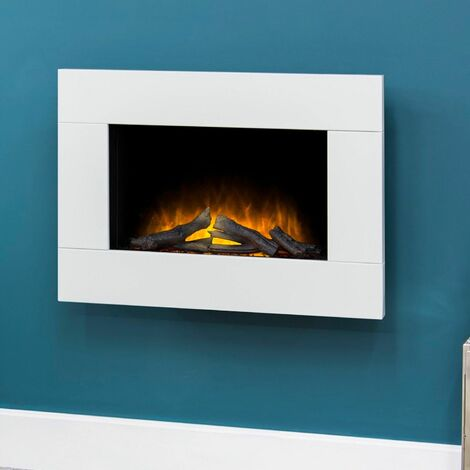 Adam Carina White Wall Mounted Electric Fire Suite Stove Fire Heater Remote