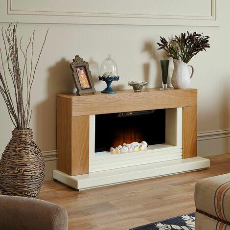 Adam Carrera Oak Fireplace Suite Electric Fire Heater Heating Flame Effect