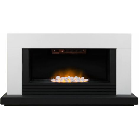 Adam Carrera White Fireplace Suite Electric Fire Heater Heating Flame Effect