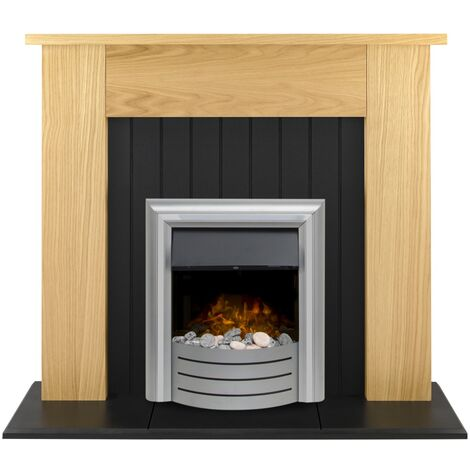 Adam Chessington Fireplace Suite in Oak with Lynx 3-in1 Electric Fire in Chrome, 48 Inch