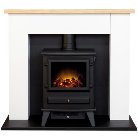 Adam Chester Fireplace in Pure White with Hudson Electric Stove in Black, 39 Inch