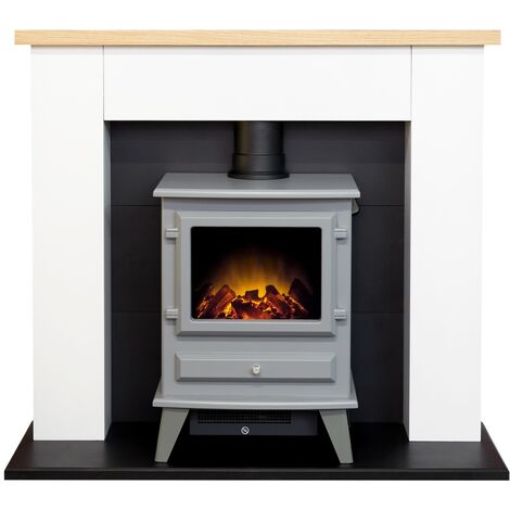 Adam Chester Fireplace in Pure White with Hudson Electric Stove in Grey, 39 Inch