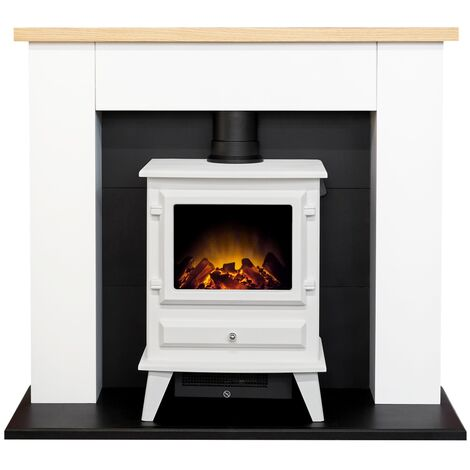 Adam Chester Fireplace in Pure White with Hudson Electric Stove in White, 39 Inch