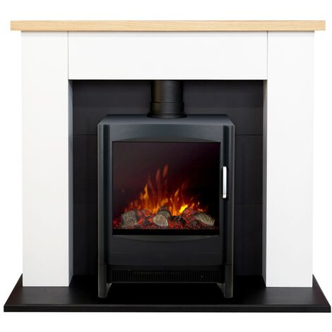 Adam Chester Fireplace in Pure White with Keston Electric Stove in Black, 39 Inch
