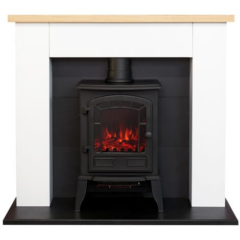 Adam Chester Fireplace in Pure White with Ripon Electric Stove in Black, 39 Inch