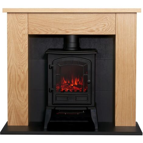 Adam Chester Stove Suite in Oak with Ripon Electric Stove in Black, 39 Inch