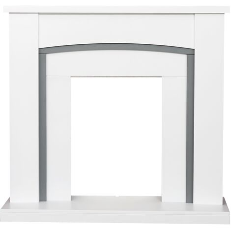 Adam Chilton Fireplace in Pure White and Grey, 39 Inch