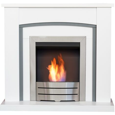 Adam Chilton Fireplace in Pure White & Grey with Colorado Bio Ethanol Fire in Brushed Steel, 39 Inch