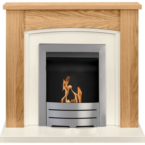 Adam Chilton Fireplace Suite in Oak with Colorado Bio Ethanol Fire in Brushed Steel, 39 Inch