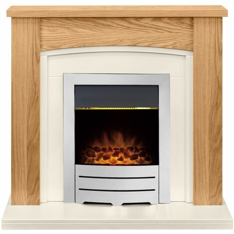 Adam Chilton Oak Electric Fire Fireplace Surround Wood Heater Real Flame Chrome