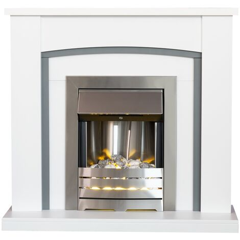 Adam Chilton in Pure White & Grey with Helios Electric Fire in Brushed Steel, 39 Inch