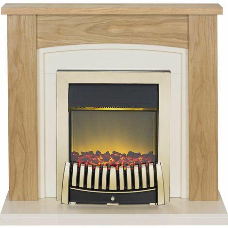 Adam Chilton Oak Electric Fire Fireplace Surround Wood Heater Real Flame Brass