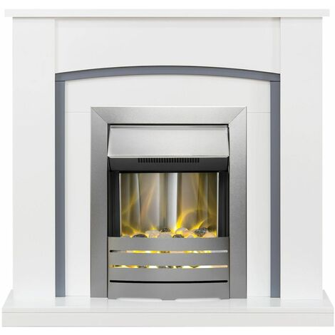 Adam Chilton White Grey Electric Fire Fireplace Surround Wood Heater Real Flame