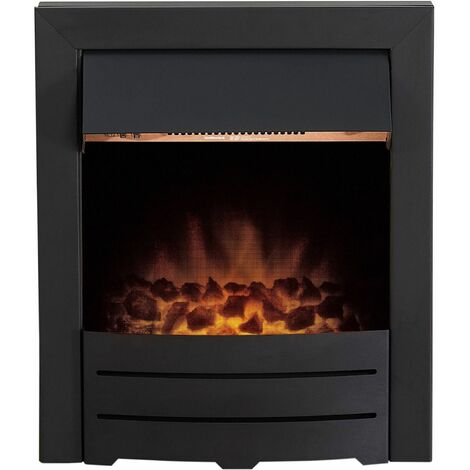 Adam Colorado Black Inset Electric Fire Coal Heater Heating Real Flame Effect