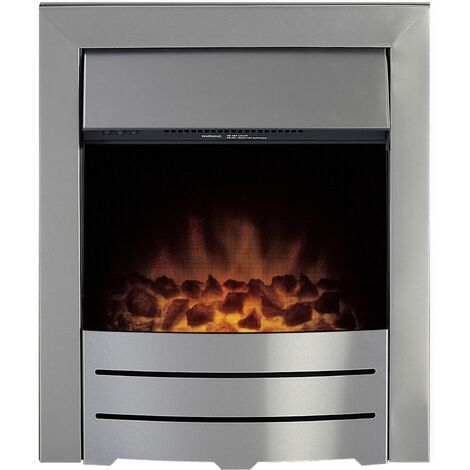 Adam Colorado Brushed Inset Electric Fire Coal Heater Heating Real Flame Effect