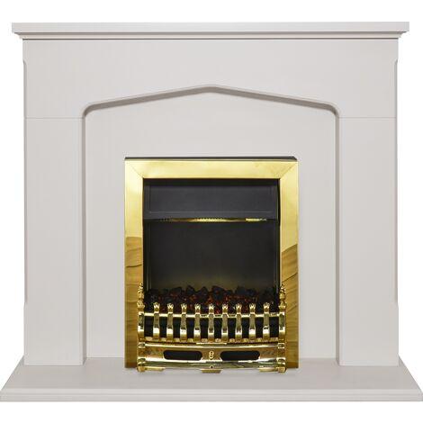 Adam Cotswold Fireplace Suite in Stone Effect with Blenheim Electric Fire in Brass, 48 Inch