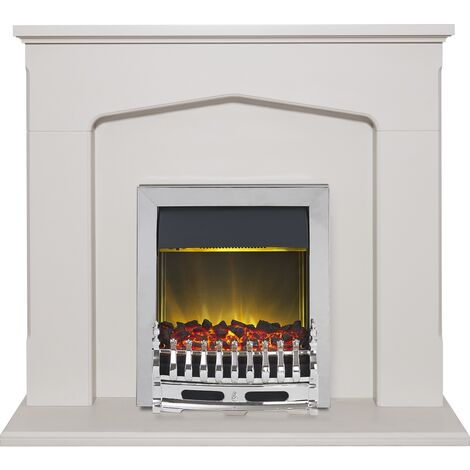 Adam Cotswold Fireplace Suite in Stone Effect with Blenheim Electric Fire in Chrome, 48 Inch