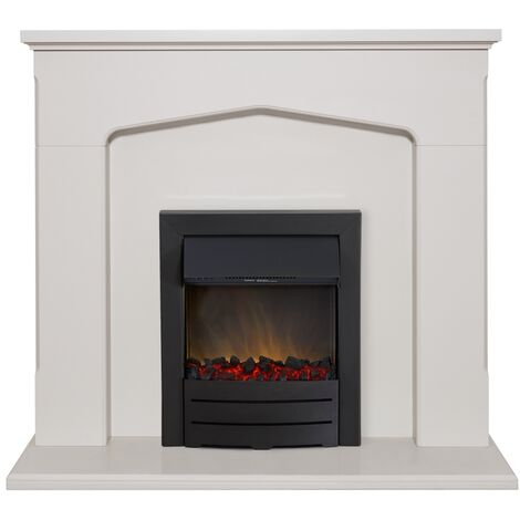 Adam Cotswold Fireplace Suite in Stone Effect with Colorado Electric Fire in Black, 48 Inch