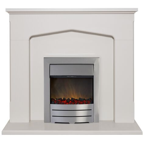 Adam Cotswold Fireplace Suite in Stone Effect with Colorado Electric Fire in Brushed Steel, 48 Inch