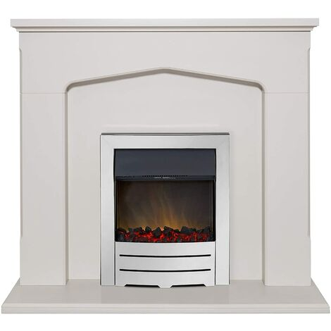 Adam Cotswold Fireplace Suite in Stone Effect with Colorado Electric Fire in Chrome, 48 Inch