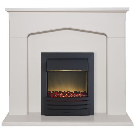 Adam Cotswold Fireplace Suite in Stone Effect with Eclipse Electric Fire in Black, 48 Inch