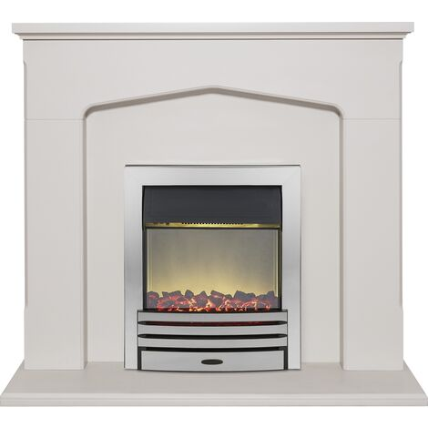 Adam Cotswold Fireplace Suite in Stone Effect with Eclipse Electric Fire in Chrome, 48 Inch