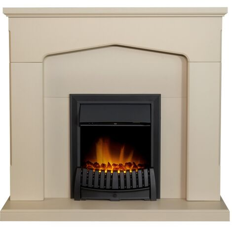 Adam Cotswold Fireplace Suite in Stone Effect with Elan Electric Fire in Black, 48 Inch