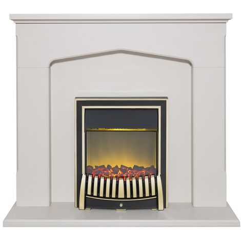 Adam Cotswold Fireplace Suite in Stone Effect with Elan Electric Fire in Brass, 48 Inch