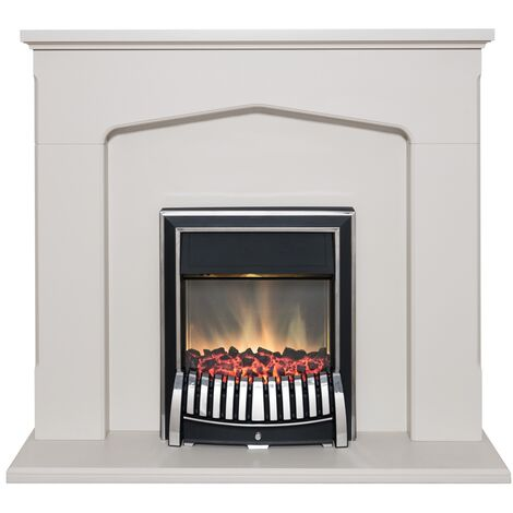 Adam Cotswold Fireplace Suite in Stone Effect with Elan Electric Fire in Chrome, 48 Inch